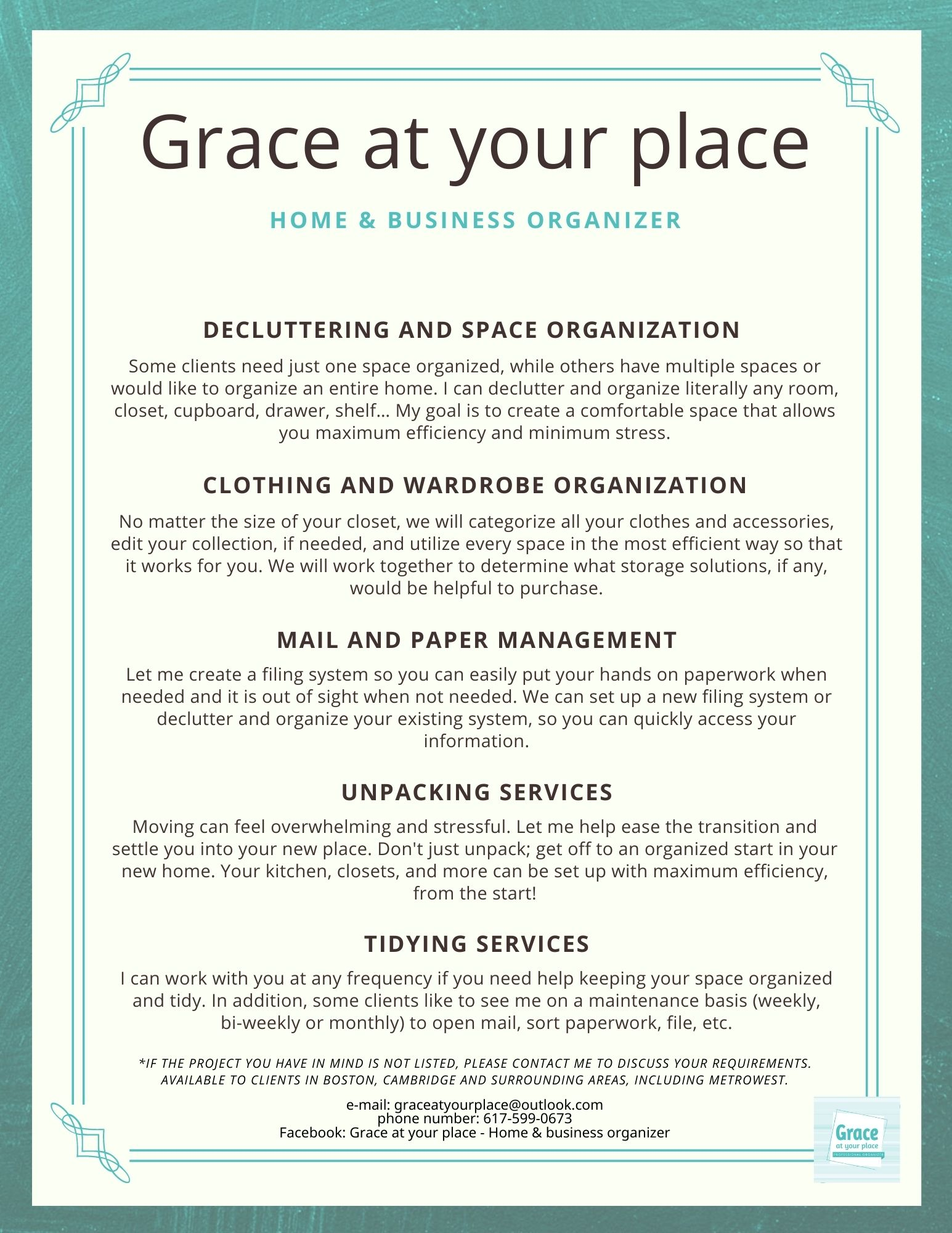 Grace at your place-Home organizer-Boston-Cambridge-Menu of services