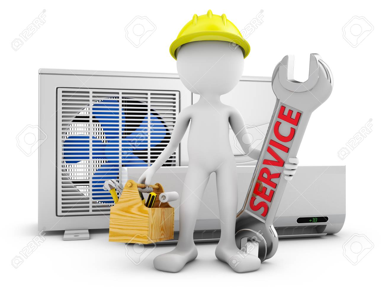 97075699-man-with-a-wrench-on-the-background-of-the-air-conditioner-3d-rendering-